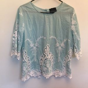 Gorgeous Cynthia Rowley embroidered baby blue top
